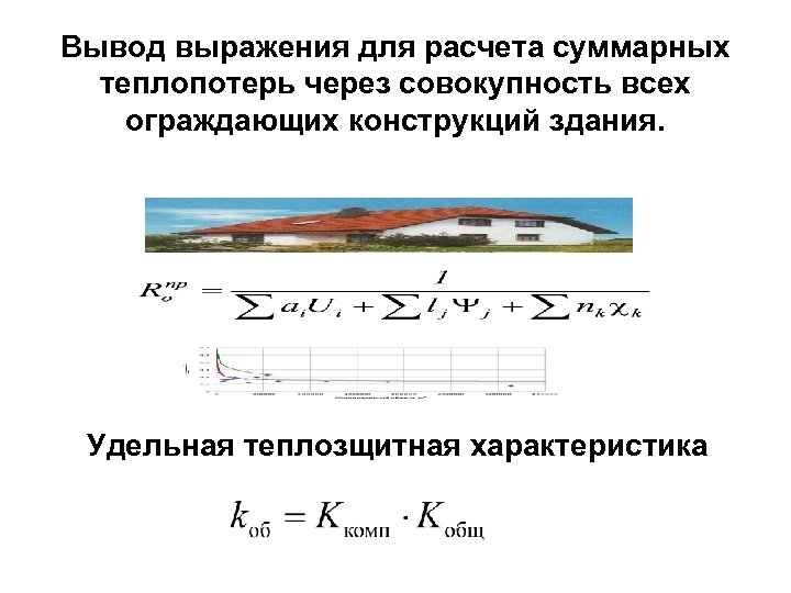 Вывод выражения для расчета суммарных теплопотерь через совокупность всех ограждающих конструкций здания. Удельная теплозщитная