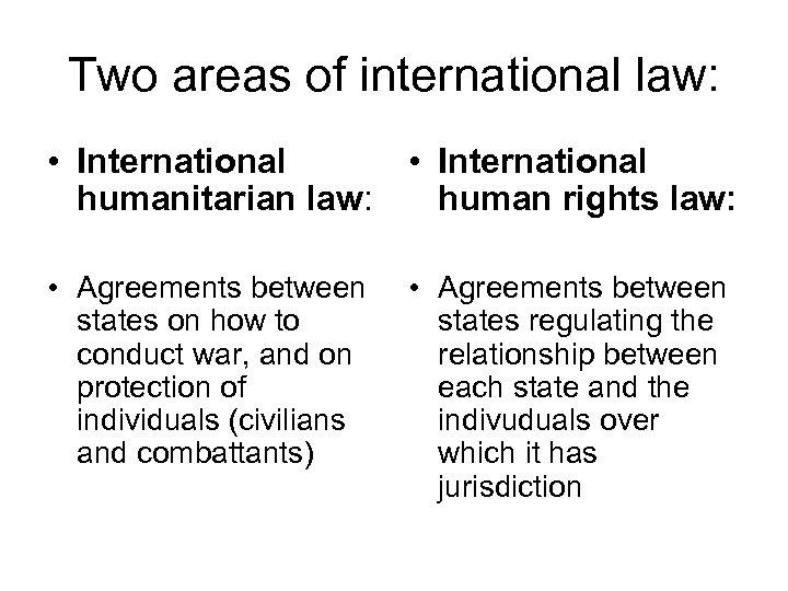 Two areas of international law: • International humanitarian law: • International human rights law: