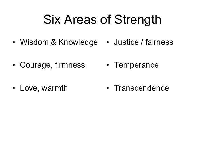 Six Areas of Strength • Wisdom & Knowledge • Justice / fairness • Courage,