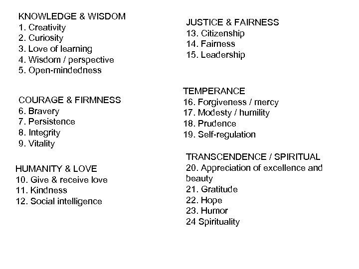 KNOWLEDGE & WISDOM 1. Creativity 2. Curiosity 3. Love of learning 4. Wisdom /