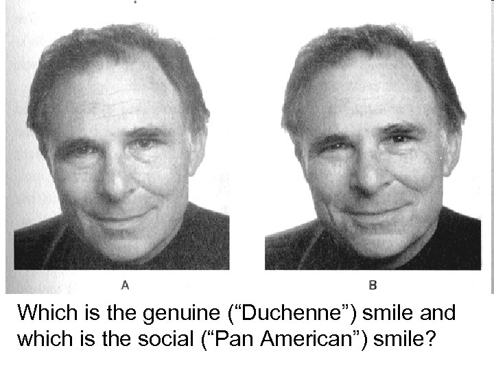 """Which is the genuine (""""Duchenne"""") smile and which is the social (""""Pan American"""") smile?"""