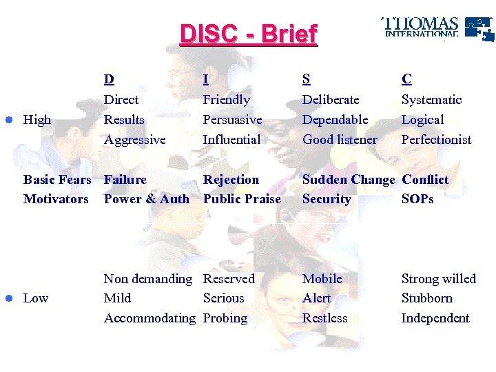 DISC - Brief D l High I S C Direct Results Aggressive Friendly Persuasive
