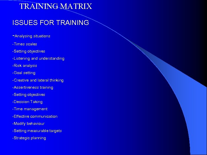 TRAINING MATRIX ISSUES FOR TRAINING -Analysing situations -Times scales -Setting objectives -Listening and understanding