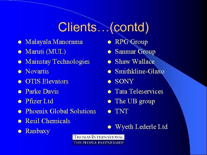 Clients…(contd) l l l l l Malayala Manorama Maruti (MUL) Mainstay Technologies Novartis OTIS