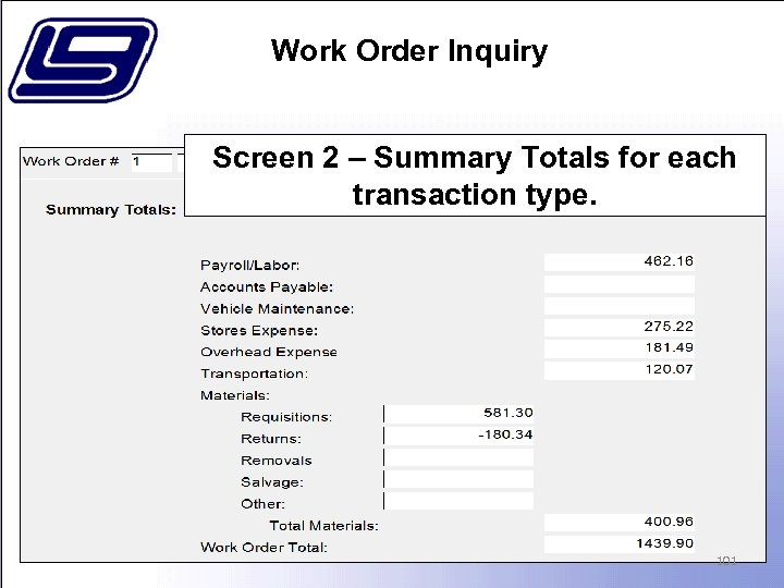 Work Order Inquiry Screen 2 – Summary Totals for each transaction type. 101