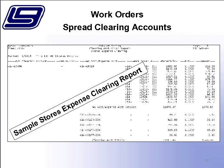 Work Orders Spread Clearing Accounts s. E ore e ns pe x ing r