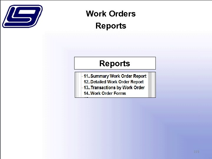 Work Orders Reports 119