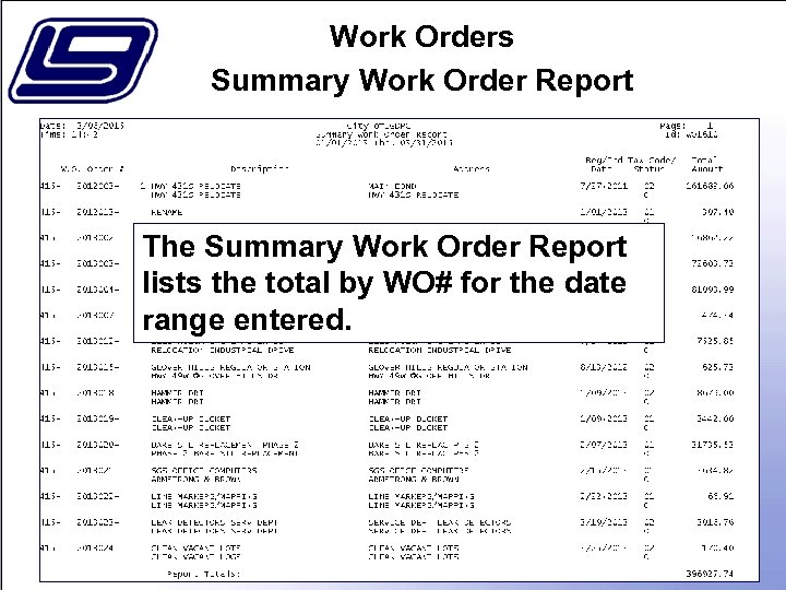 Work Orders Summary Work Order Report The Summary Work Order Report lists the total