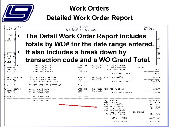Work Orders Detailed Work Order Report • The Detail Work Order Report includes totals