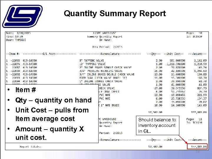 Quantity Summary Report • Item # • Qty – quantity on hand • Unit