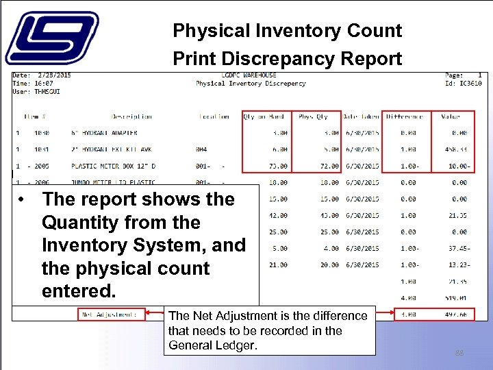 Physical Inventory Count Print Discrepancy Report • The report shows the Quantity from the