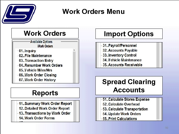Work Orders Menu Work Orders Import Options Reports Spread Clearing Accounts 99