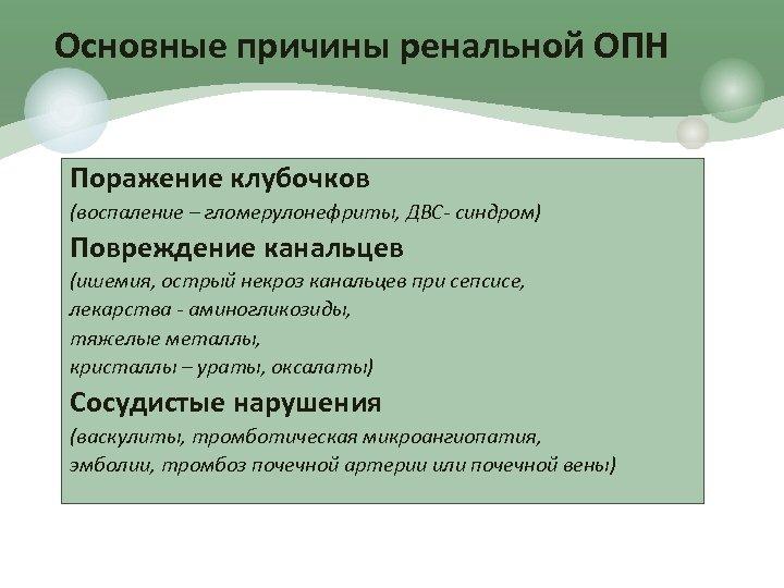 Основные причины ренальной ОПН Поражение клубочков (воспаление – гломерулонефриты, ДВС- синдром) Повреждение канальцев (ишемия,