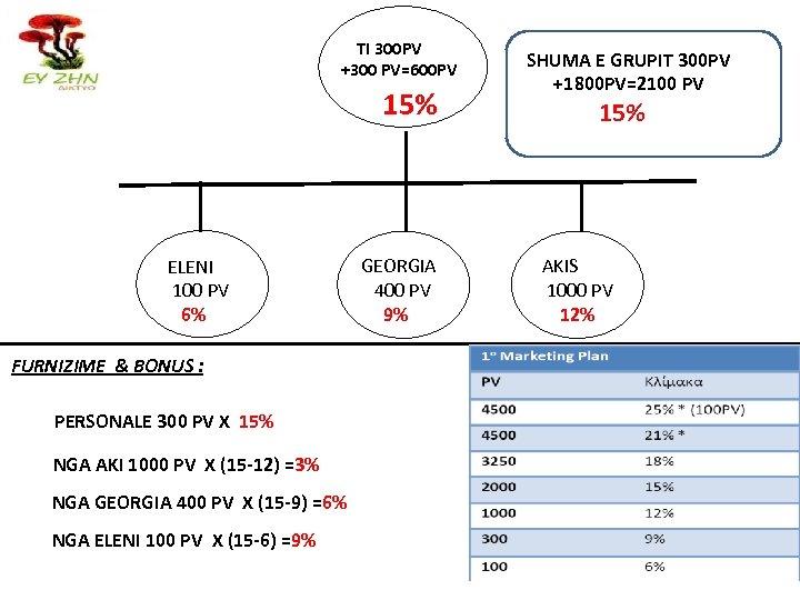 TI 300 PV +300 PV=600 PV 15% ELENI 100 PV 6% FURNIZIME & BONUS