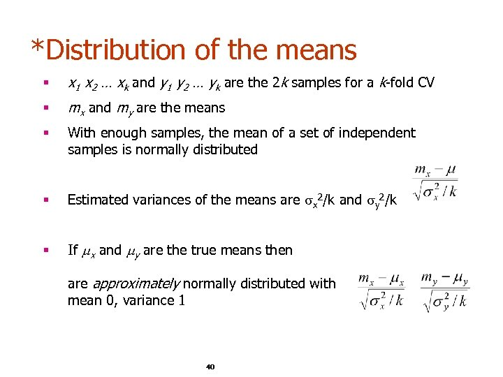 *Distribution of the means § x 1 x 2 … xk and y 1