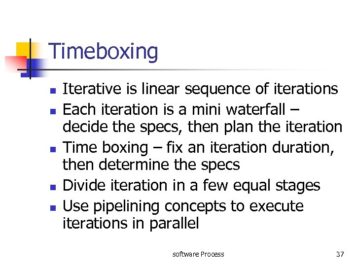 Timeboxing n n n Iterative is linear sequence of iterations Each iteration is a