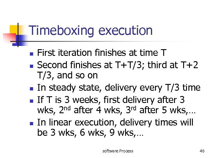 Timeboxing execution n n First iteration finishes at time T Second finishes at T+T/3;