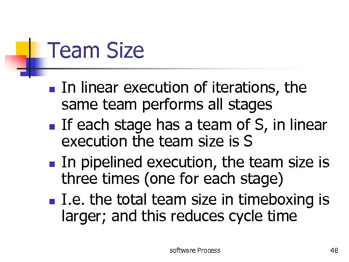 Team Size n n In linear execution of iterations, the same team performs all