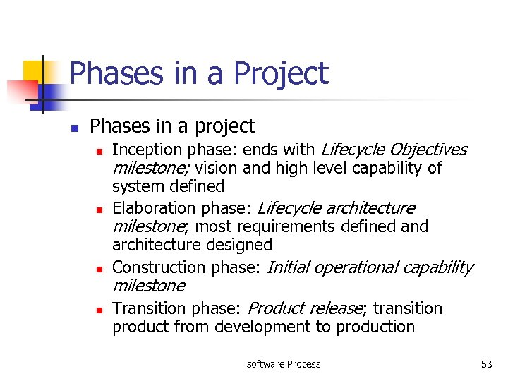 Phases in a Project n Phases in a project n n Inception phase: ends