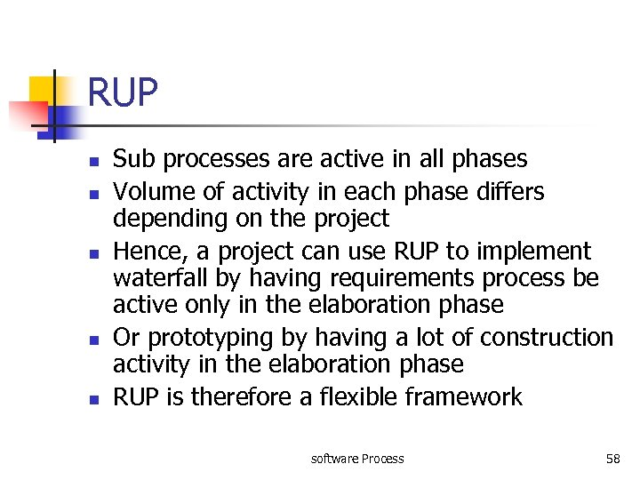 RUP n n n Sub processes are active in all phases Volume of activity