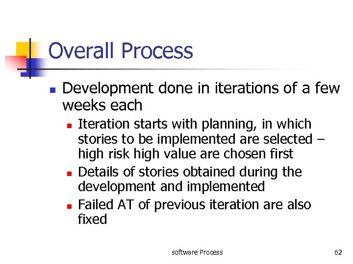 Overall Process n Development done in iterations of a few weeks each n n