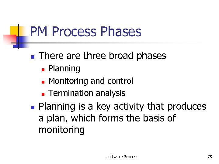 PM Process Phases n There are three broad phases n n Planning Monitoring and
