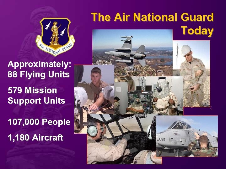 The Air National Guard Today Approximately: 88 Flying Units 579 Mission Support Units 107,
