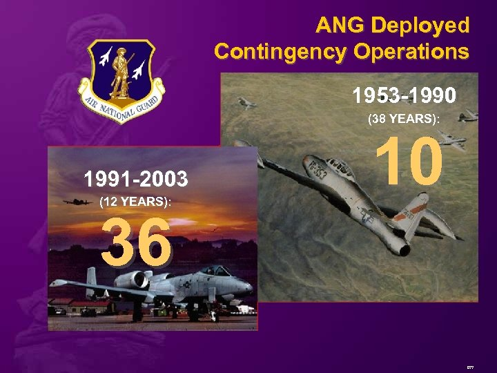 ANG Deployed Contingency Operations 1953 -1990 (38 YEARS): 1991 -2003 (12 YEARS): 10 36