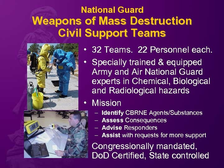 National Guard Weapons of Mass Destruction Civil Support Teams • 32 Teams. 22 Personnel