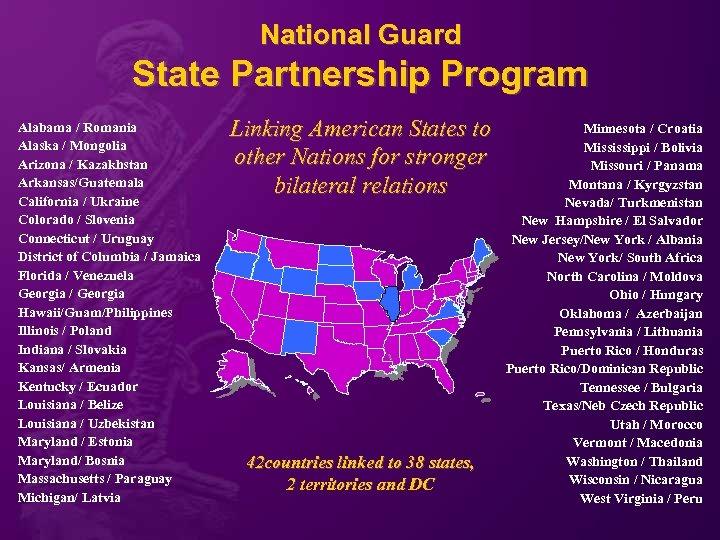 National Guard State Partnership Program Alabama / Romania Alaska / Mongolia Arizona / Kazakhstan