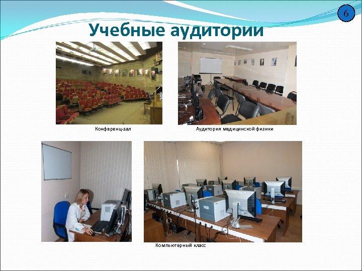 Учебные аудитории Конференц-зал Аудитория медицинской физики Компьютерный класс 6