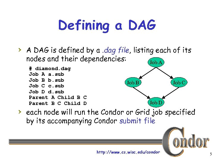 Defining a DAG › A DAG is defined by a. dag file, listing each
