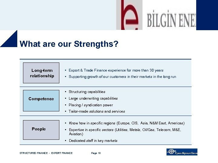What are our Strengths? Long-term relationship • Export & Trade Finance experience for more
