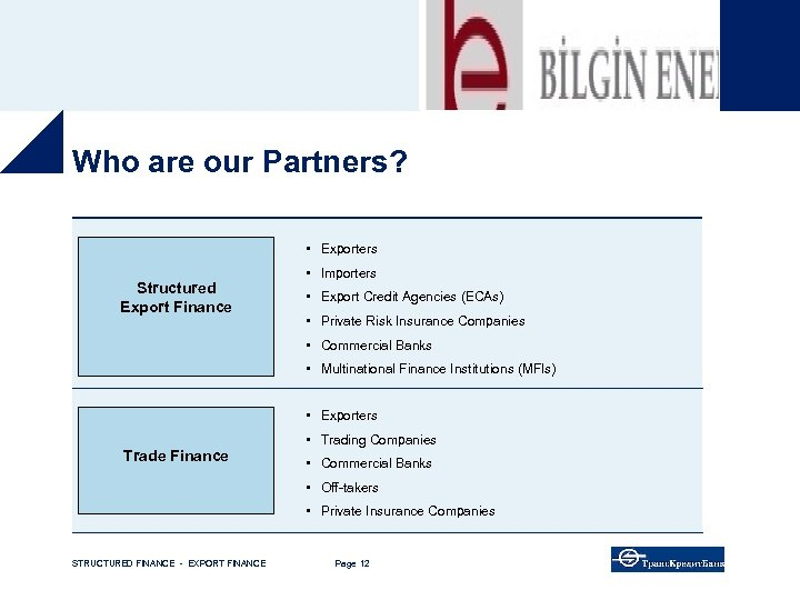 Who are our Partners? • Exporters Structured Export Finance • Importers • Export Credit