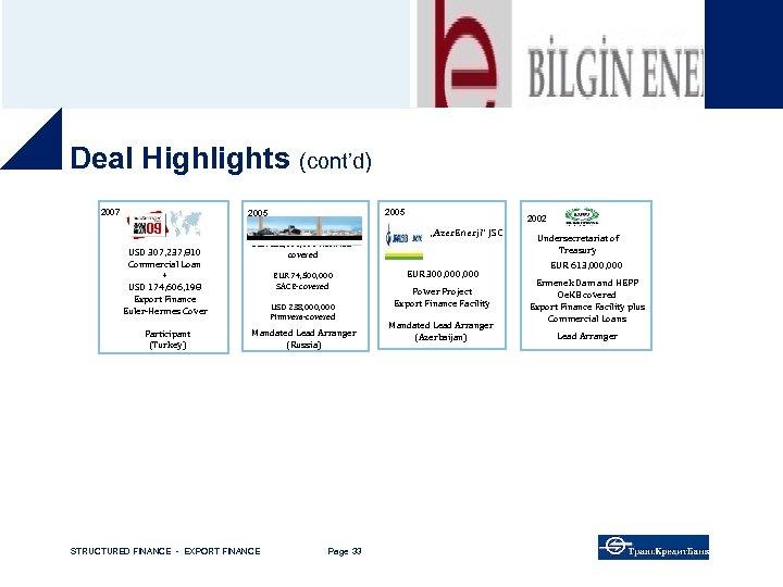 "Deal Highlights (cont'd) 2007 2005 2002 ""Azer. Enerji"" JSC USD 307, 237, 810 Commercial"