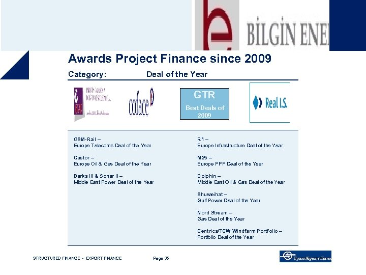 Awards Project Finance since 2009 Category: Deal of the Year GTR Best Deals of