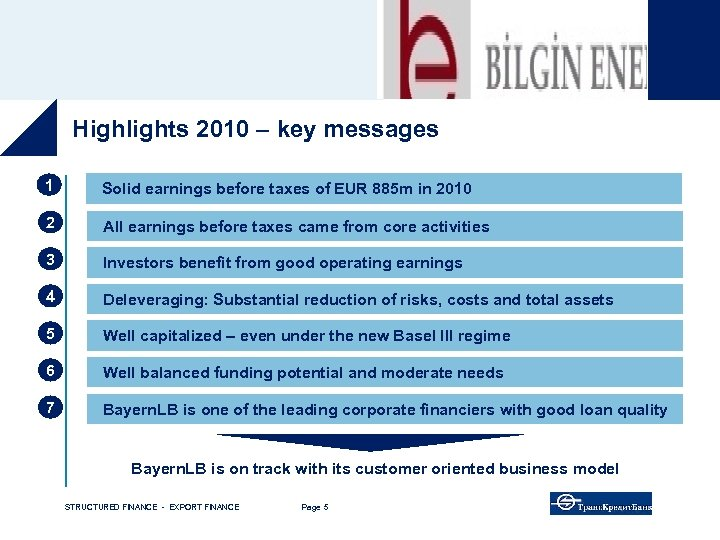 Highlights 2010 – key messages 1 Solid earnings before taxes of EUR 885 m