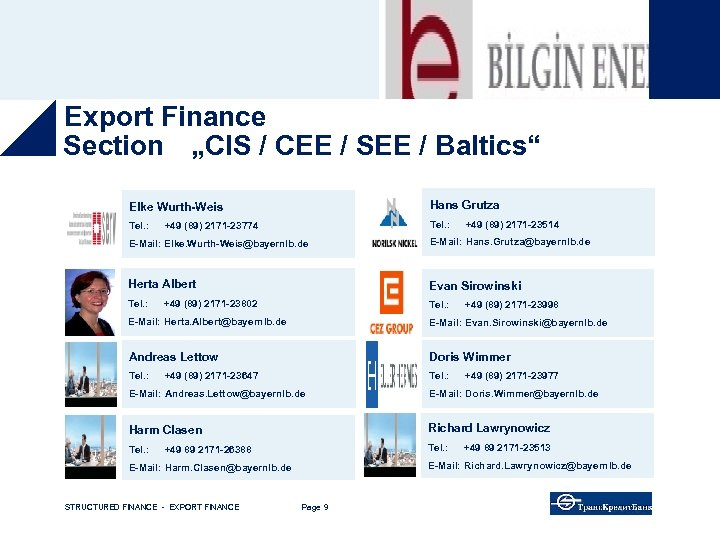 """Export Finance The Team Section """"CIS / CEE / SEE / Baltics"""" Elke Wurth-Weis"""