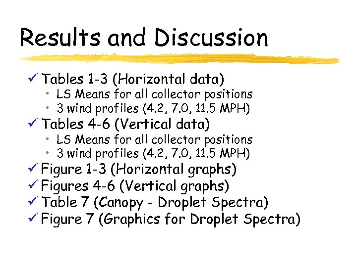 Results and Discussion ü Tables 1 -3 (Horizontal data) • LS Means for all