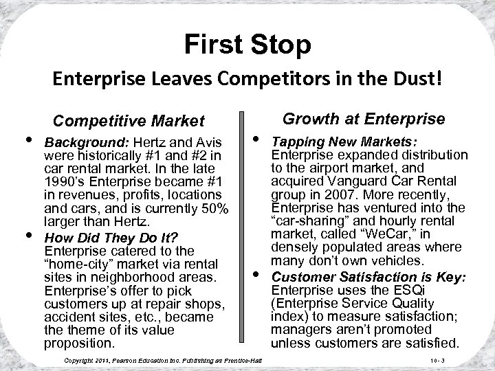 First Stop Enterprise Leaves Competitors in the Dust! • • Competitive Market Background: Hertz