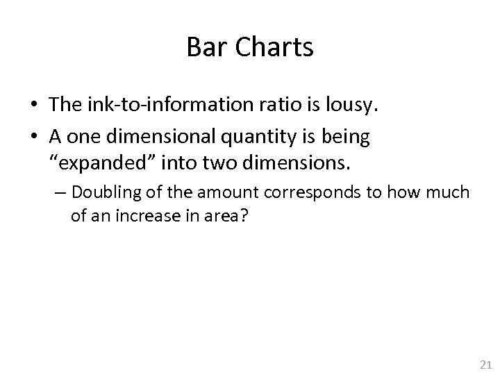 Bar Charts • The ink-to-information ratio is lousy. • A one dimensional quantity is