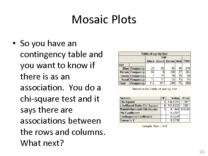 Mosaic Plots • So you have an contingency table and you want to know