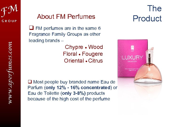 FM GROUP About FM Perfumes www. aperfumes. com q FM perfumes are in the
