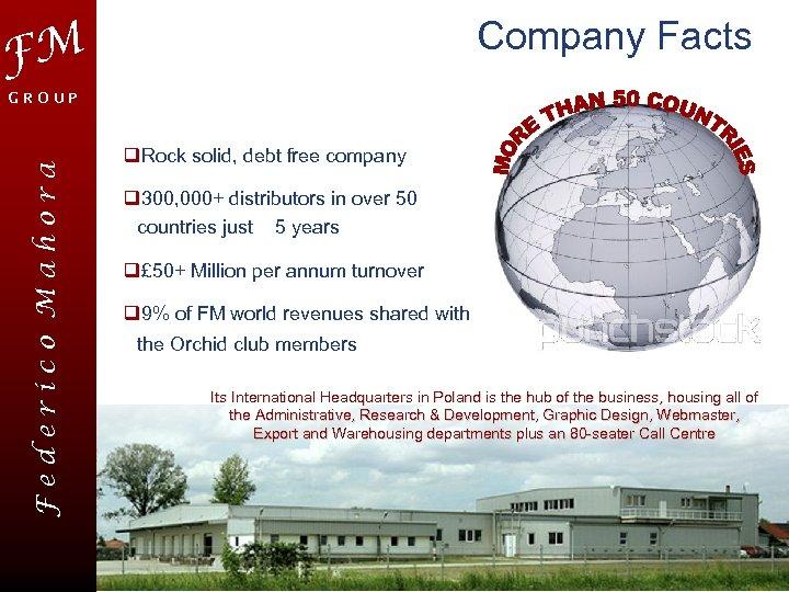 Company Facts FM Federico Mahora GROUP q. Rock solid, debt free company q 300,