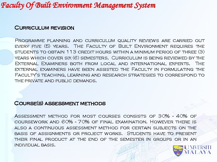 Faculty Of Built Environment Management System Curriculum revision Programme planning and curriculum quality reviews