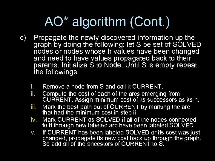 AO* algorithm (Cont. ) c) Propagate the newly discovered information up the graph by