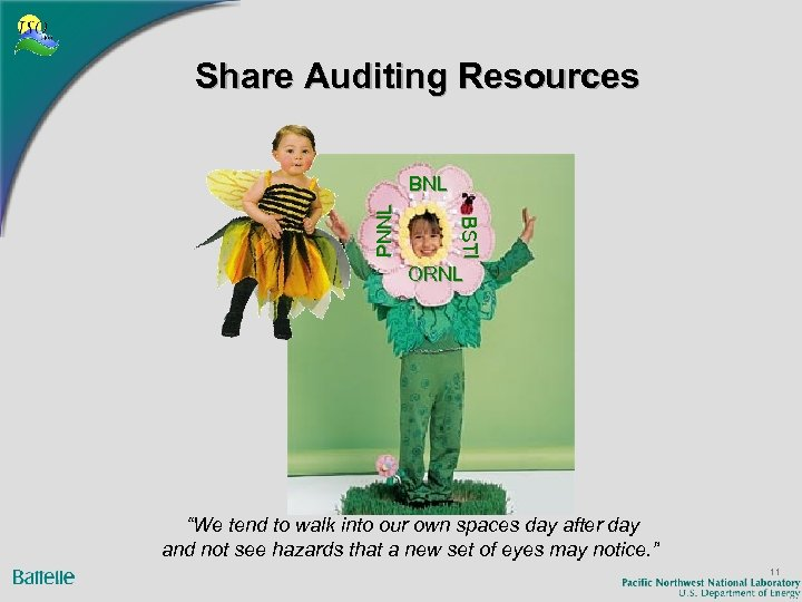 "Share Auditing Resources BSTI BS I PNNL BNL ORNL ""We tend to walk into"