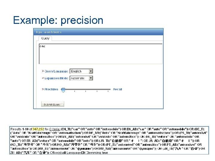 Example: precision