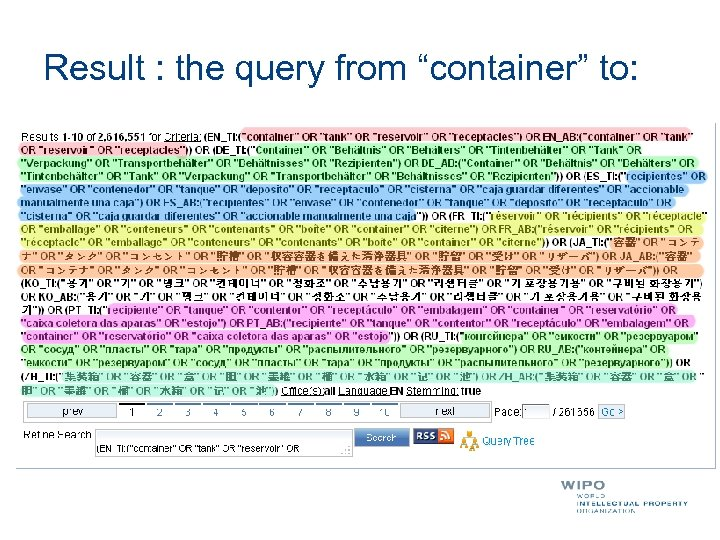 "Result : the query from ""container"" to:"