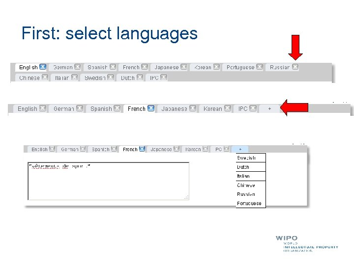 First: select languages